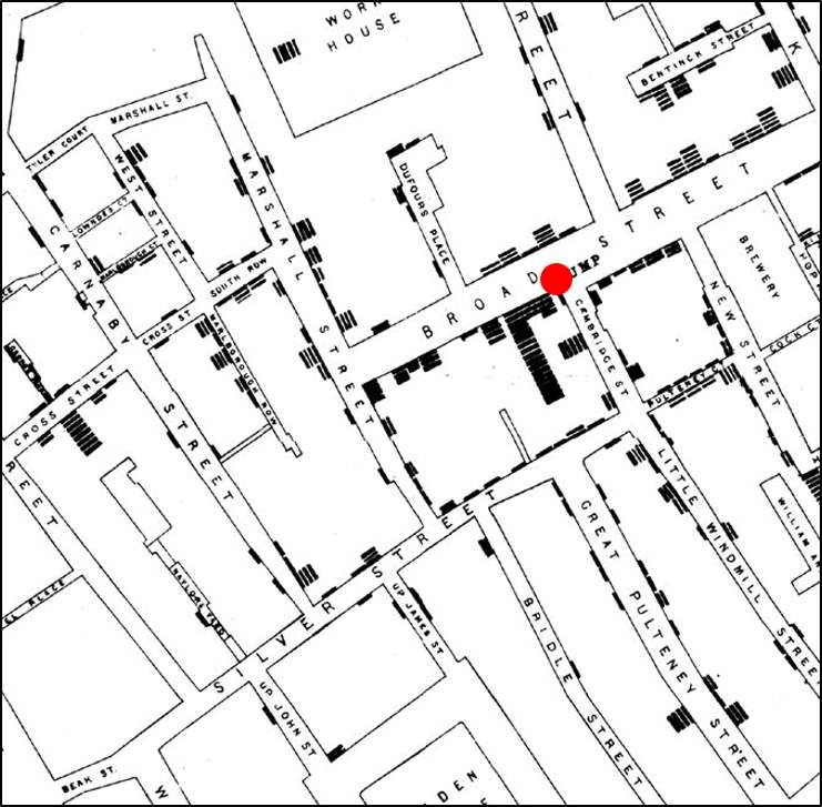 data presentation Layout Display Table map of the broad street area of london showing stacks of black disks to represent the